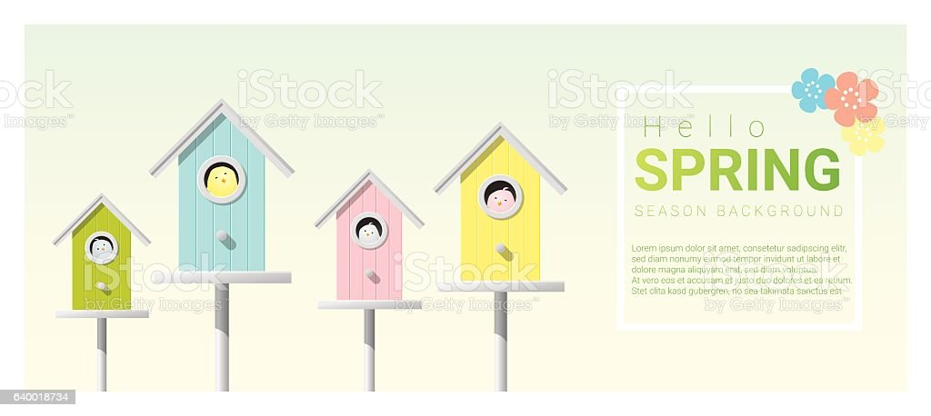Hello spring background with little birds in birdhouses 5 vector art illustration