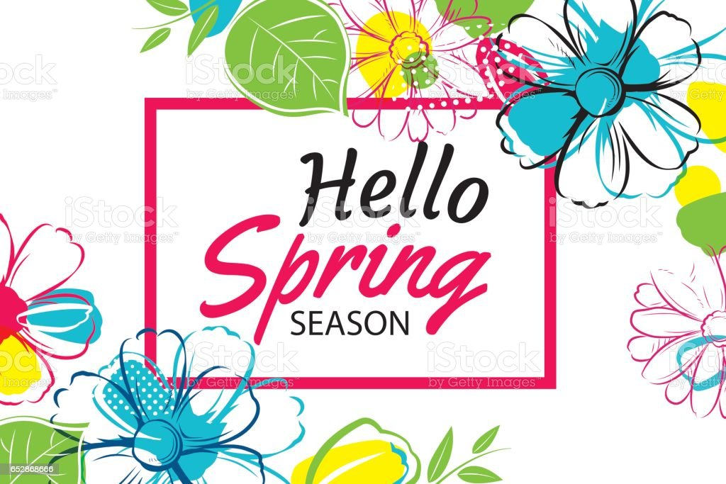 hello spring banner template with colorful flowercan be use voucher wallpaperflyers invitation. Black Bedroom Furniture Sets. Home Design Ideas