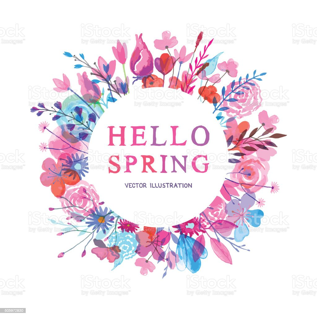 Hello spring banner vector art illustration
