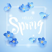 Hello Spring card with forget-me-not and lens flare on blue background. Vector illustration.