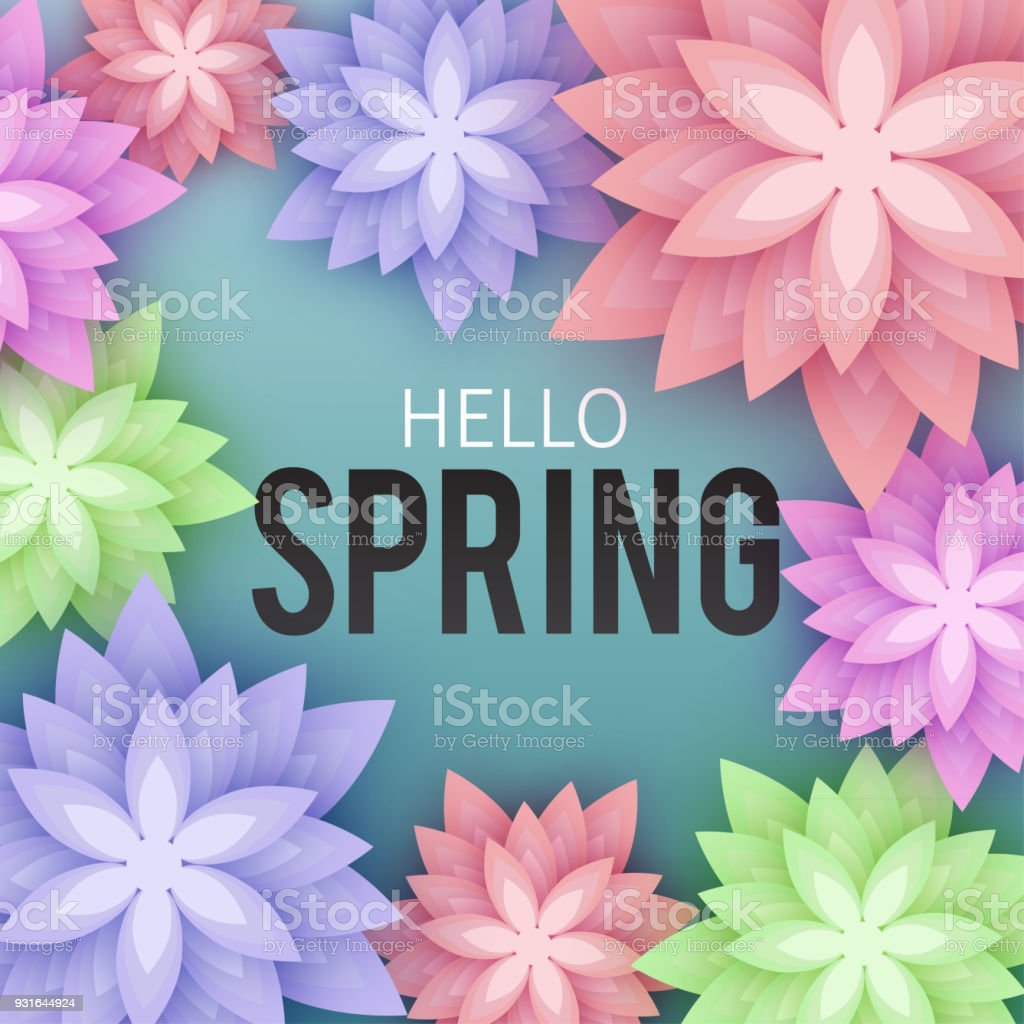 hello spring floral greeting card paper flowers banner with r royalty free