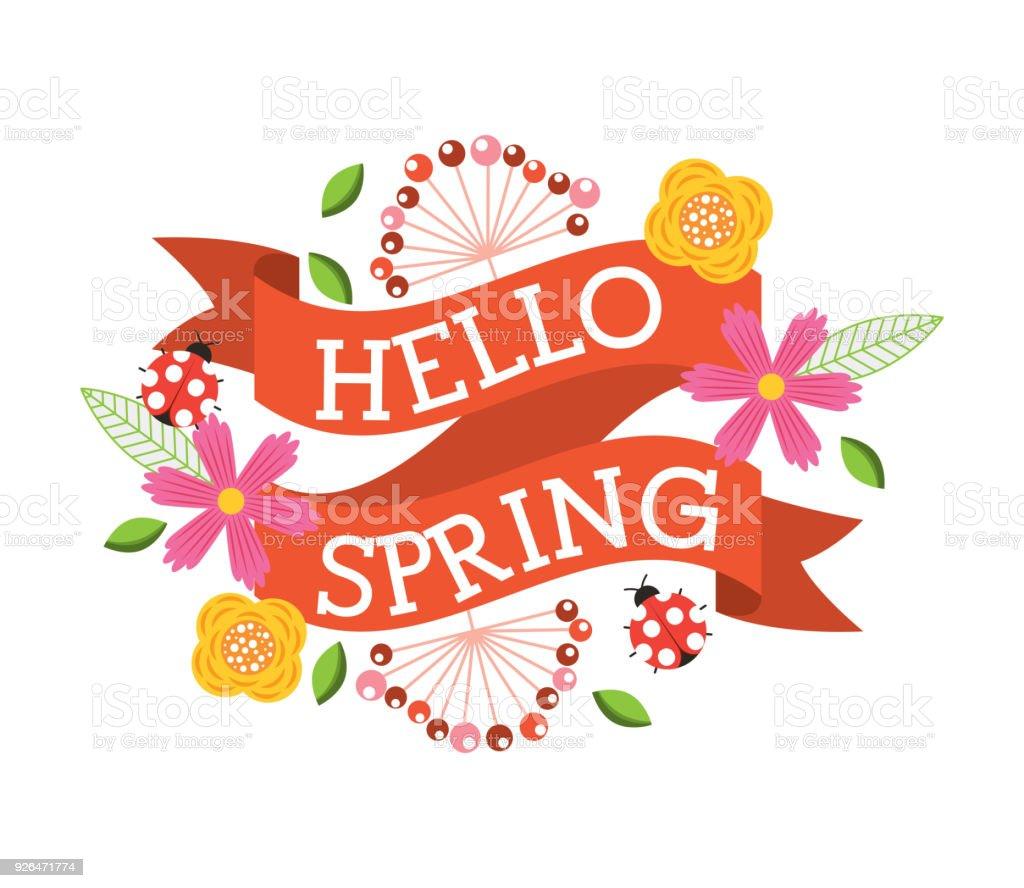 hello spring floral ladybug flower decoration banner vector art illustration