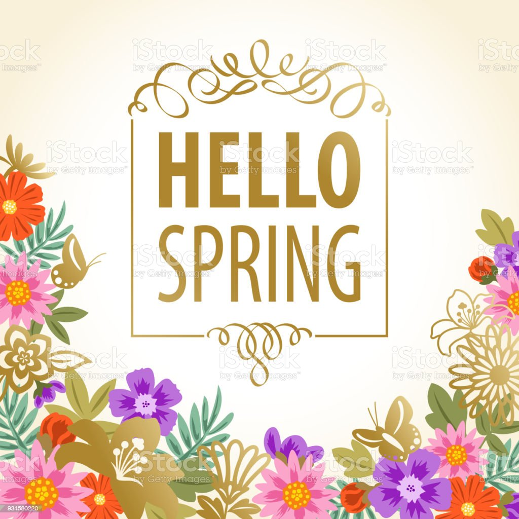 Hello spring flowers backgrounds stock vector art more images of hello spring flowers backgrounds royalty free hello spring flowers backgrounds stock vector art amp mightylinksfo