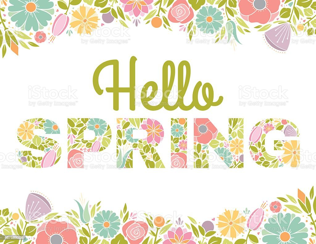 Hello Spring Flowers Text Background vector art illustration