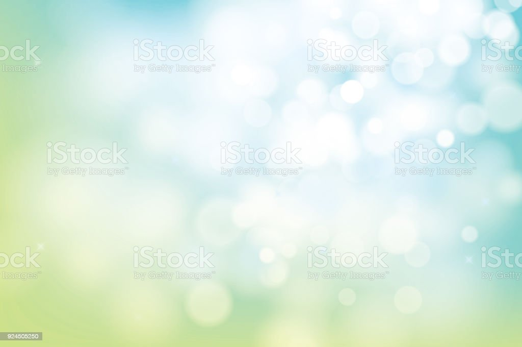hello spring green bokeh blur abstract background. vector art illustration