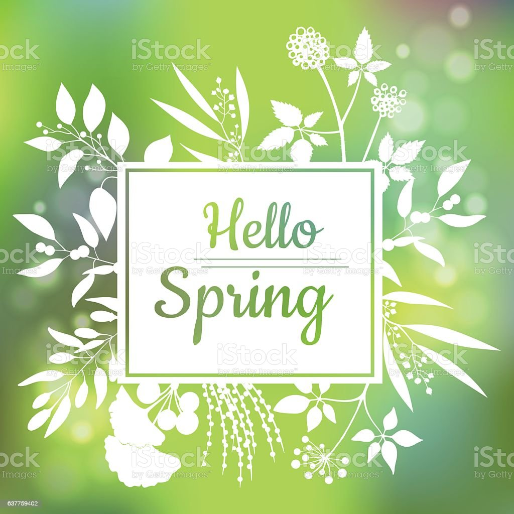 Hello Spring green card design with a textured abstract background - ilustración de arte vectorial