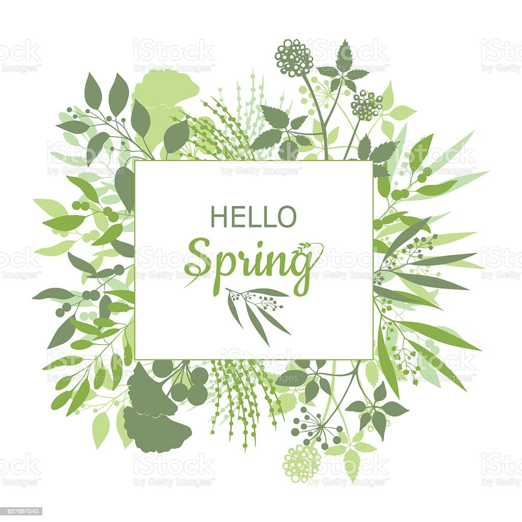 Hello Spring green card design with text in square floral vector art illustration