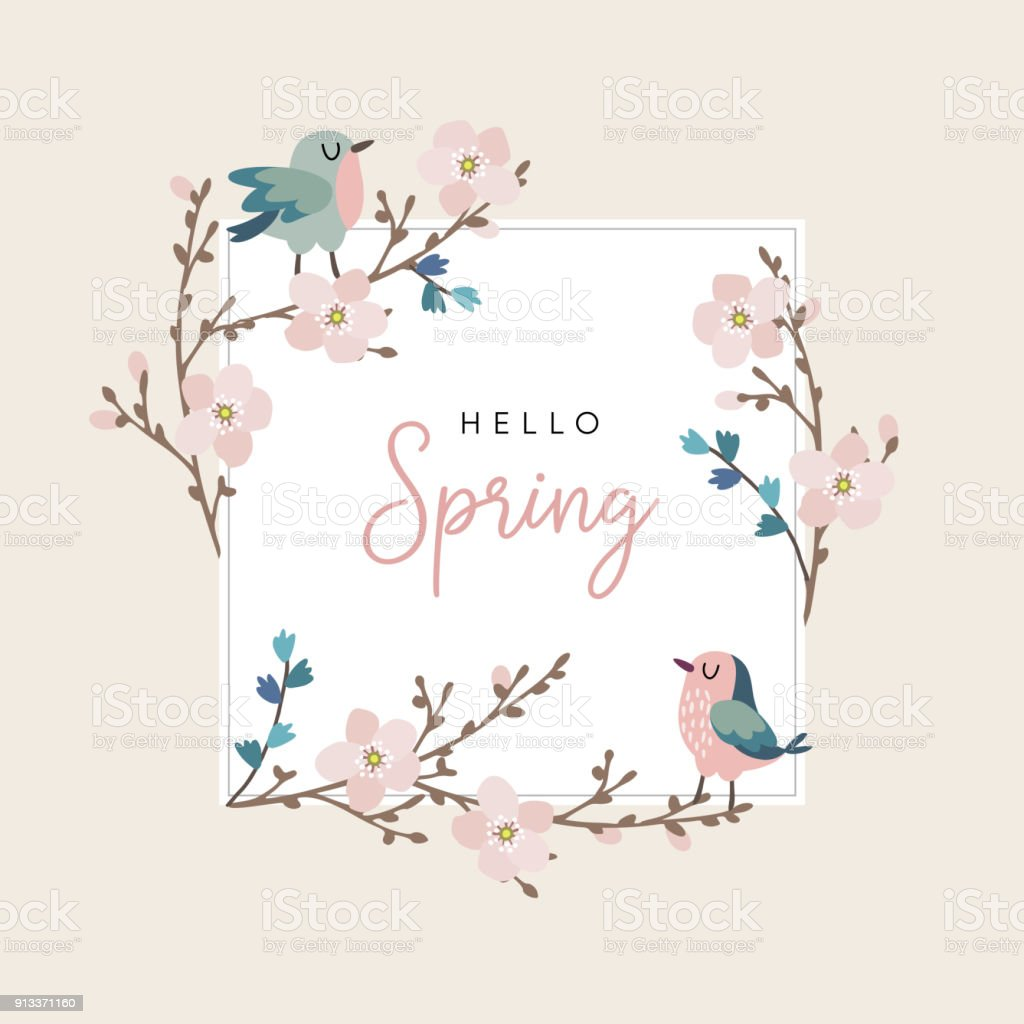 Hello Spring Greeting Card Invitation With Cute Hand Drawn Birds And