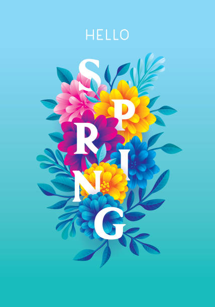 Hello spring greeting card Editable vector illustration on layers.  This is an AI EPS 10 file format, with transparency effects and gradients. spring stock illustrations