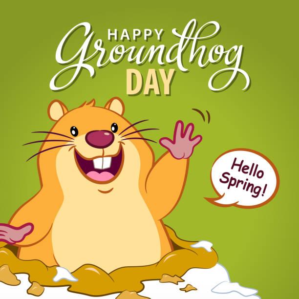 ilustraciones, imágenes clip art, dibujos animados e iconos de stock de hola spring groundhog day - groundhog day