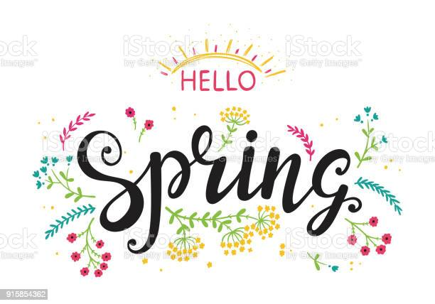 Hello spring hand drawn lettering poster with flowers and sun or vector id915854362?b=1&k=6&m=915854362&s=612x612&h=grp3jxvmxr dcinjrptsicwomnjjus61d2pjmz6ic58=