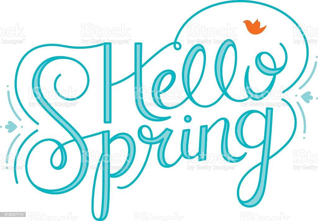 Hello Spring Hand Lettering vector art illustration