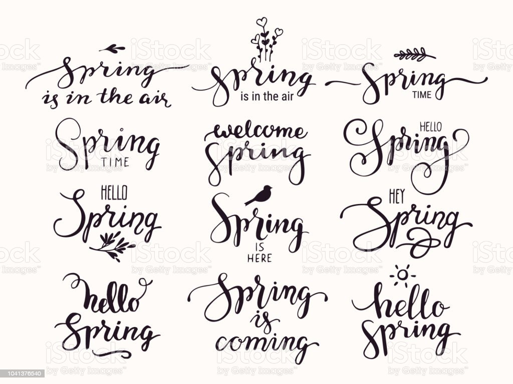 hello spring inspirational handwritten lettering modern brush calligraphy text collection for invitation greeting card