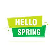 Hello Spring lettering design in green. Vector illustration