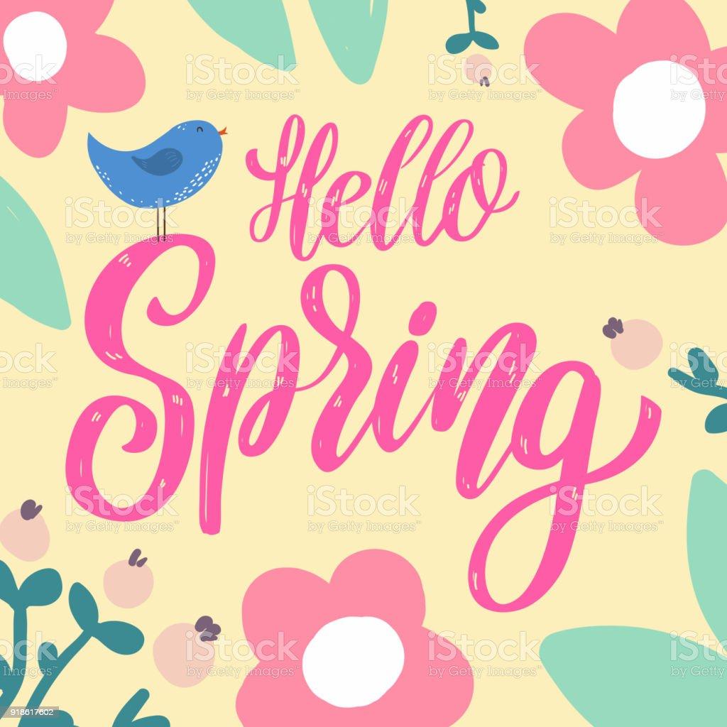 Ilustración De Hola Primavera Frase De Letras Con Decoración