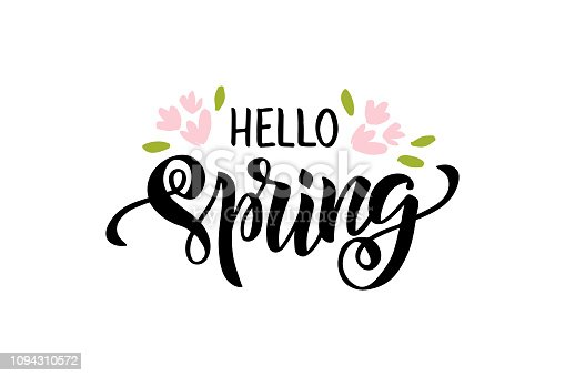 Hello spring lettering