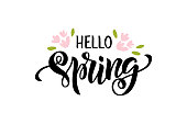Hello Spring - hand drawn brush lettering. Spring season advertising. Template with pink flowers and leaf for greeting card, invitation, banner, badge, web, poster. Vector illustration