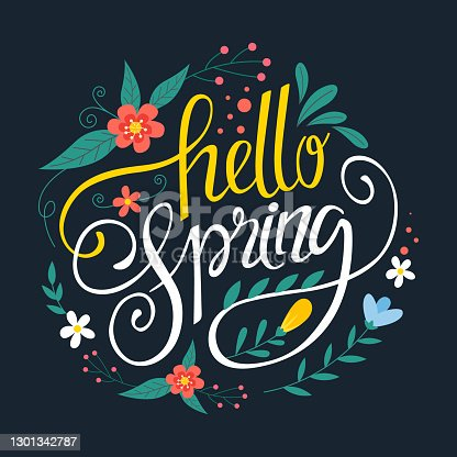 istock Hello spring lettering Vector illustration 1301342787