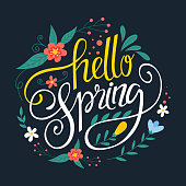 istock Hello spring lettering Vector illustration 1301342787