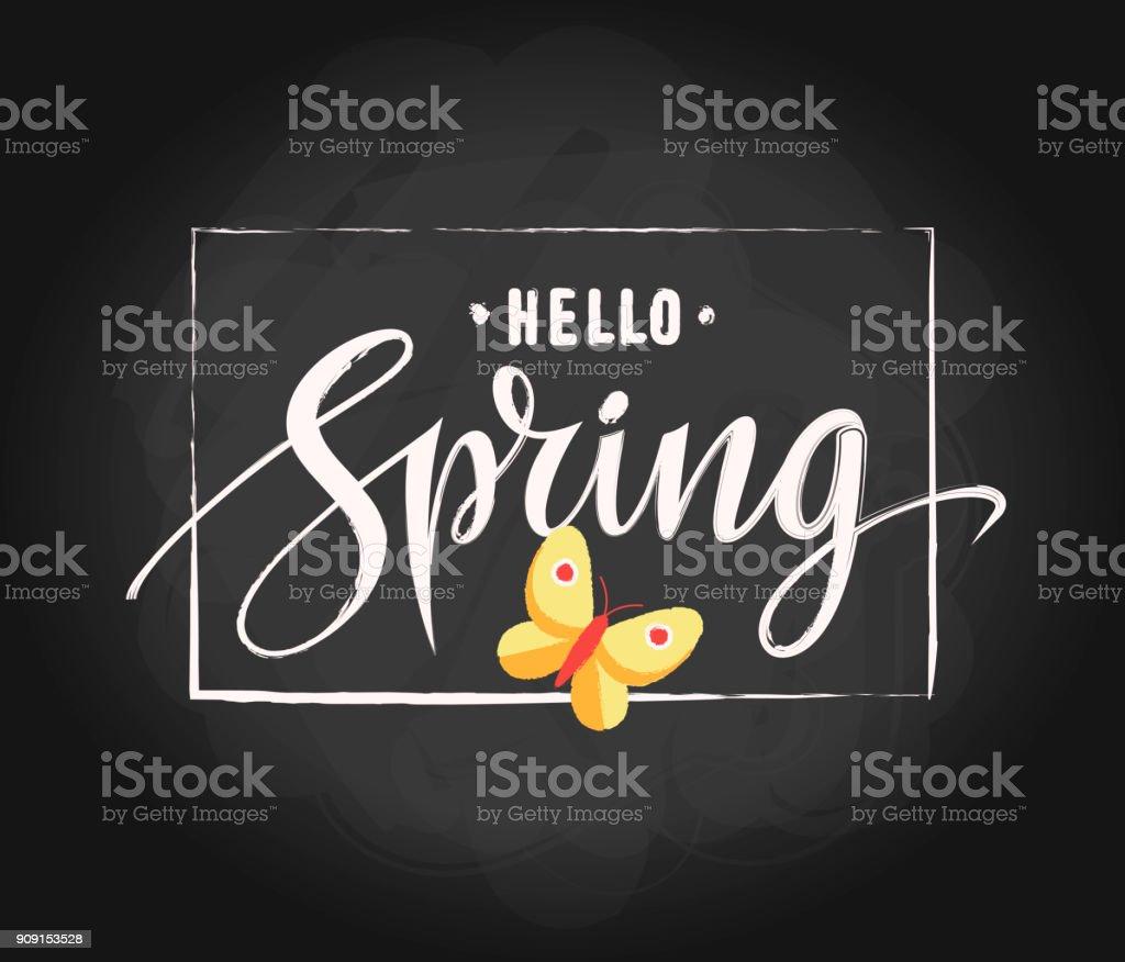Typographie letterng Bonjour printemps sur texture ardoise avec main dessinée frame et papillon. Conception graphique du printemps. Illustration vectorielle. EPS 10 - Illustration vectorielle