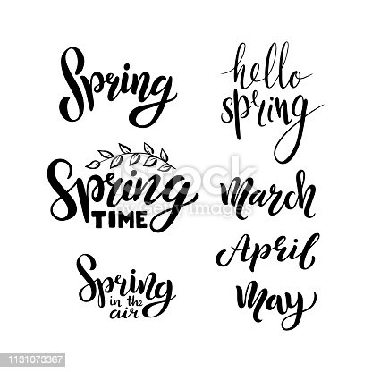 Hello spring, march, april, may, calligraphic set