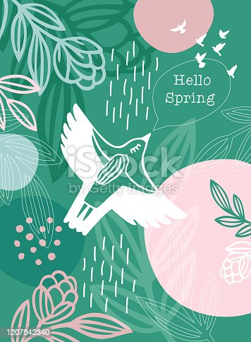 Hello Spring Message White Bird Woman. An original artwork vector illustration with typography. This inspirational design can be a postcard, invitation, web banner, shop window, invitation, poster or flyer.