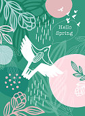 istock Hello Spring Message White Bird Woman 1207542340