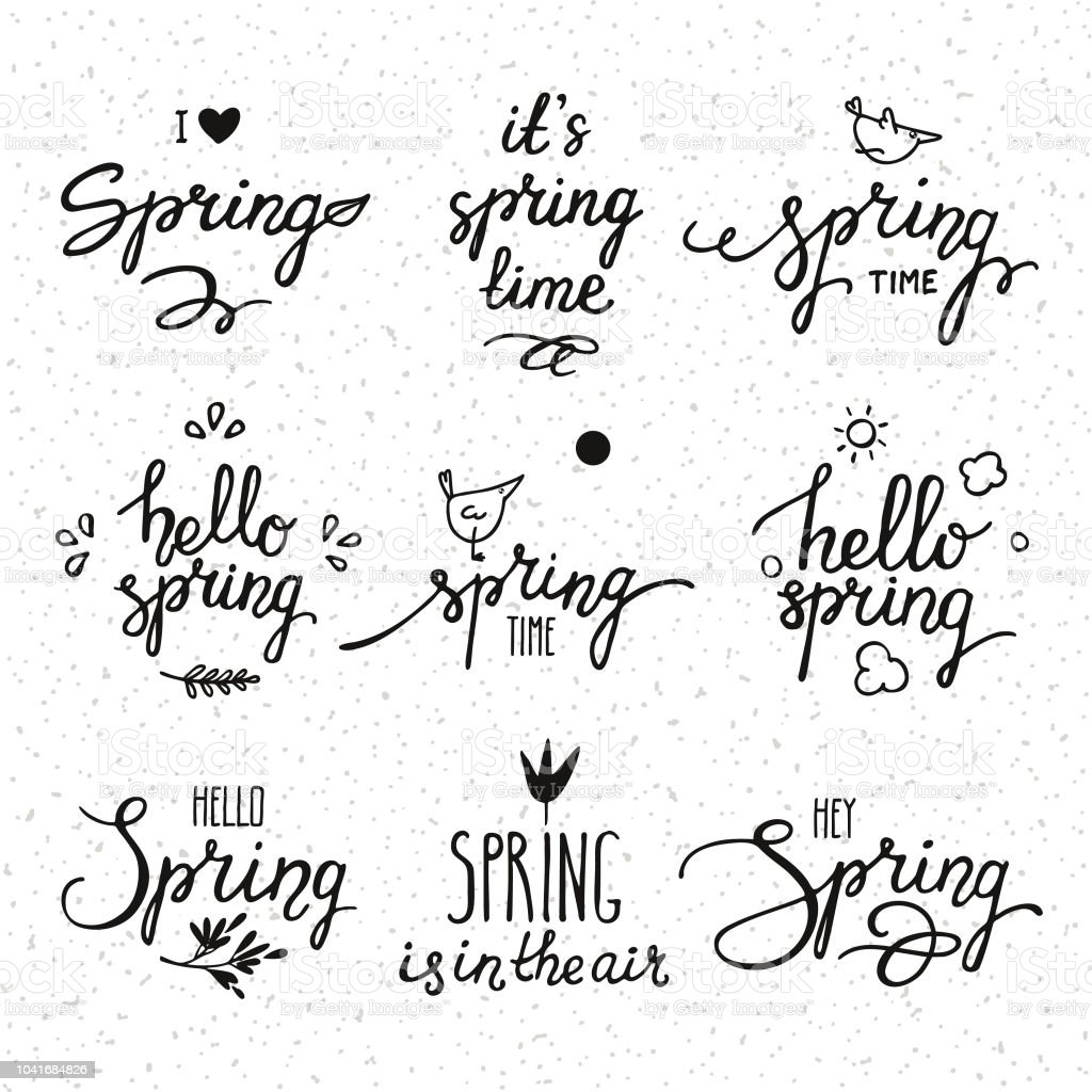 hello spring monochrome handwritten lettering modern brush calligraphy text collection for invitation greeting card