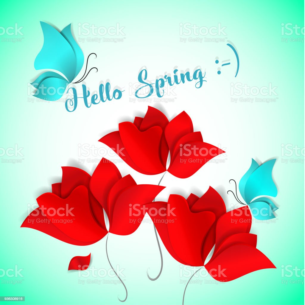 Hello Spring Paper Cut Style Card On Green Background Red Flower Blue Butterfly