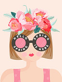 Hello Spring Romantic Banner with Cute Girls and Flowers. Floral Spring Design with Beautiful Woman in Trendy Eyeglasses for Poster, Flyer, Card. Vector illustration