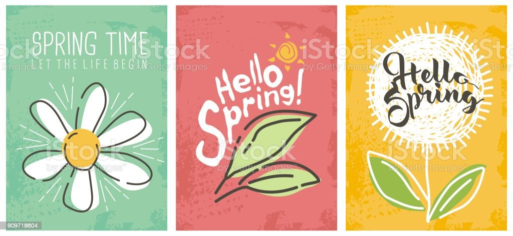 Hello spring seasonal banners collection vector art illustration