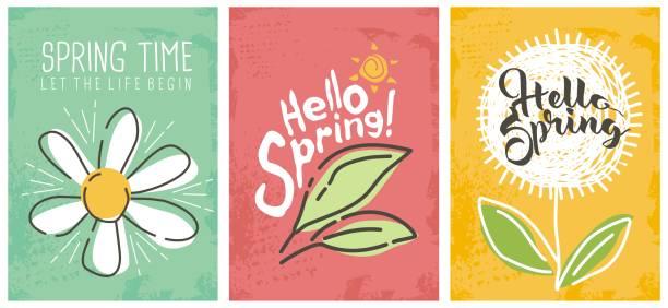 illustrations, cliparts, dessins animés et icônes de bonjour collection de bannières saisonnières printemps - printemps