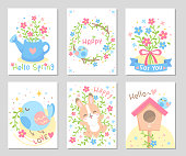 Hello Spring! It's time of fresh warmer days, blooming flowers, green leaves and little cute bird! Set of rectangle gift tag, card, postcard. Lovely happy greetings. Vector illustration.