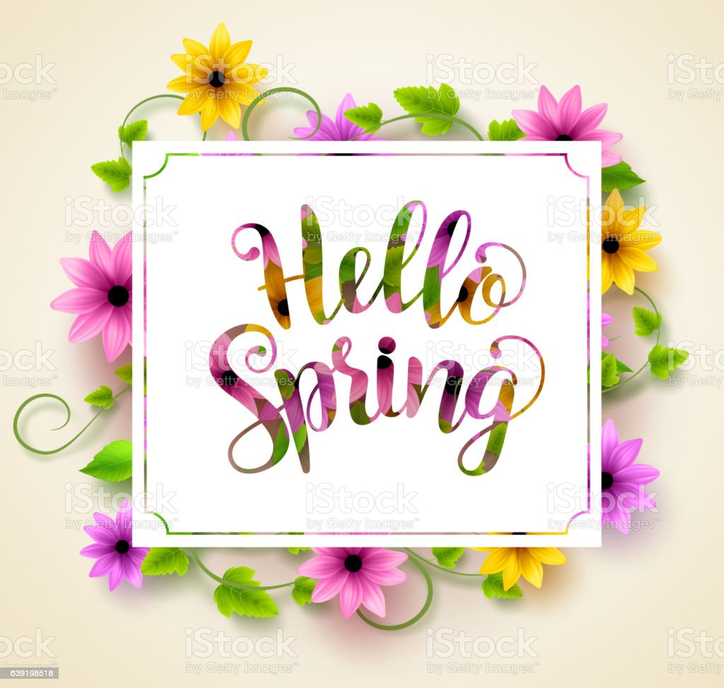 hello spring vector background design with paper cut typography stock vector art more images