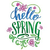Hello spring. Watercolor hand lettering card