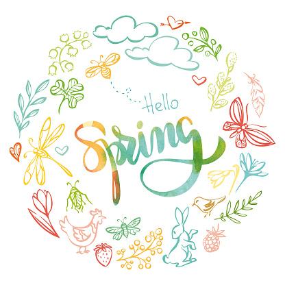 """""""Hello spring"""" watercolor inscription"""