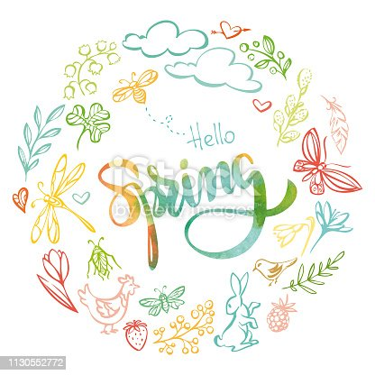 """Vector hand drawn spring elements with """"hello spring"""" watercolor lettering"""