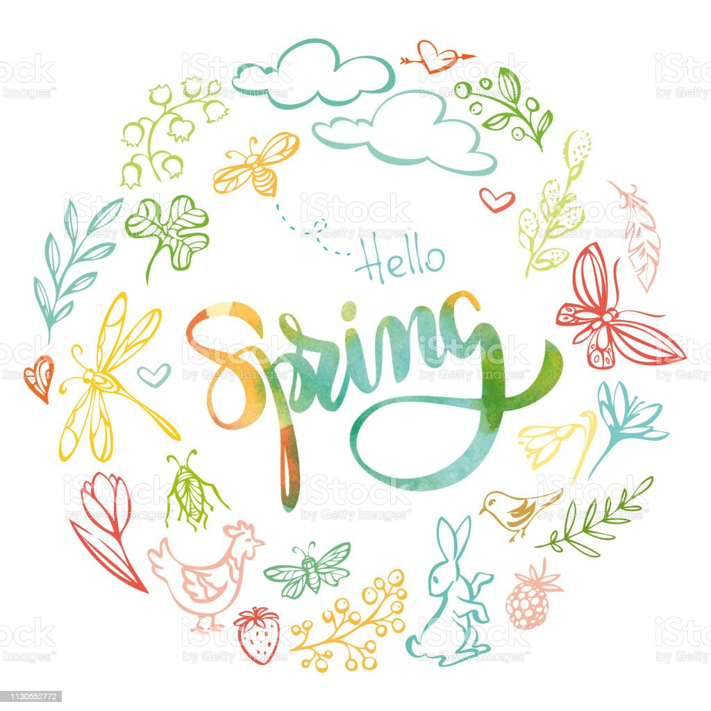 'Hello spring' watercolor inscription vector art illustration
