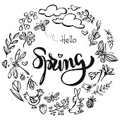 Vector hand drawn spring elements black and white