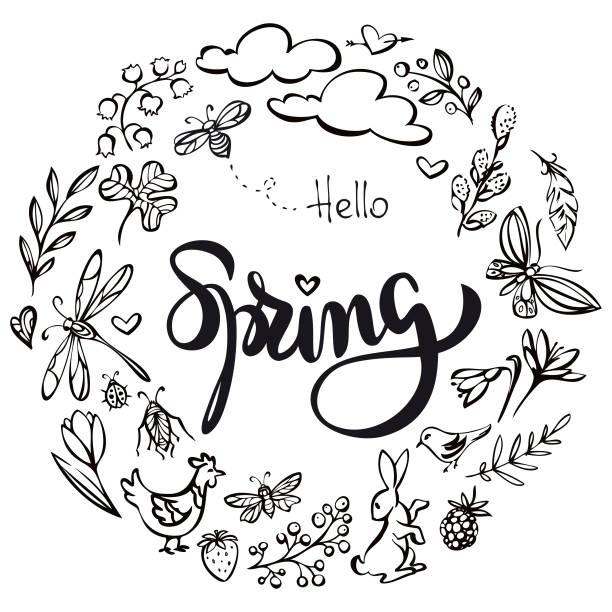 illustrations, cliparts, dessins animés et icônes de bonjour printemps couronne illustration - crocus
