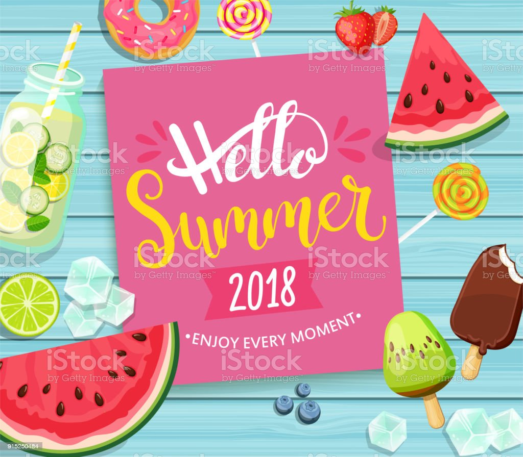 Hello summer 2018 card on blue wooden background. vector art illustration