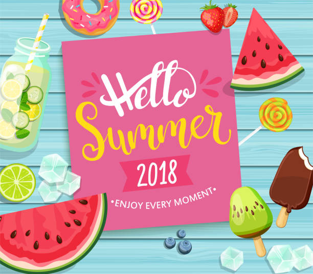 hello summer 2018 card on blue wooden background. - summer stock illustrations