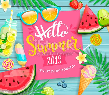 istock Hello summer 2019 pink card or banner. 1125741141