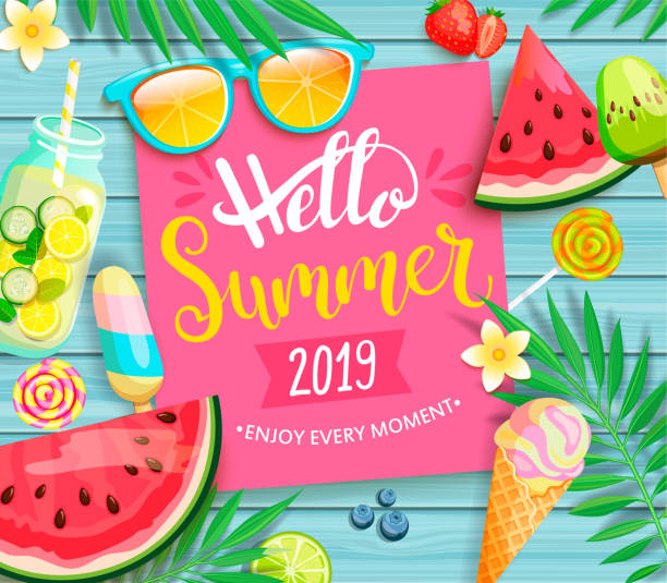 hello summer 2019 pink card or banner. - alcohol drink borders stock illustrations