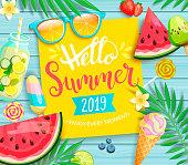 こんにちは夏 2019 黄色カードやバナーします。