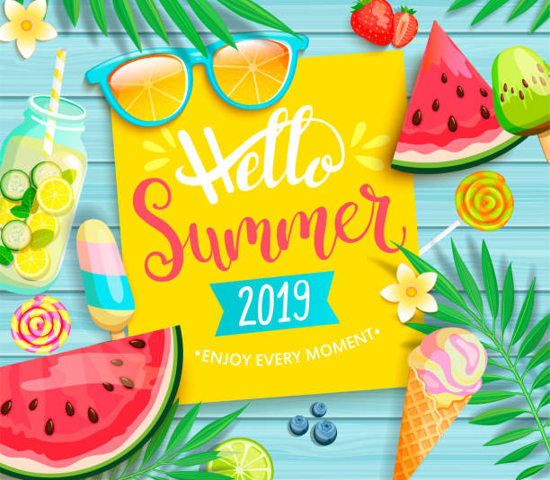 Hello summer 2019 yellow card or banner. Hello summer 2019 yellow card or banner with handdrawn lettering on blue wooden background with watermelon, detox, ice, ice cream,sunglasses and candy, blueberry. Vector Illustration. summer stock illustrations