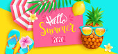 Hello summer 2020 bright greeting banner. Hipster pineapple invites to hot season, poster with tropical leaves,lemon, sun umbrella on two colors geometric background.Vector Illustration.