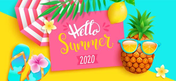 ilustraciones, imágenes clip art, dibujos animados e iconos de stock de hola verano 2020 brillante banner de saludo. - verano