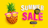 Bright Sale banner for summer 2020. Hipster pineapple in sunglasses invites to big discounts in hot season on yellow background, poster with sweet clearance.Template for design.Vector Illustration.