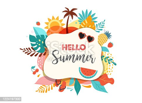 istock Hello summer abstract background, summer sale banner, poster design. Vector illustration 1224197300